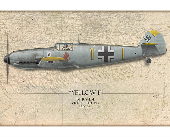 Aviation Poster featuring the painting Heinz Ebeling Messerschmitt Bf-109 - Map Background by Craig Tinder