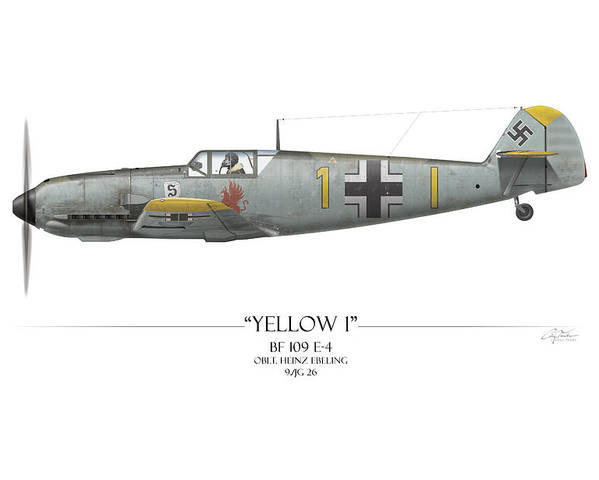Aviation Poster featuring the painting Heinz Ebeling Messerschmitt Bf-109 - White Background by Craig Tinder