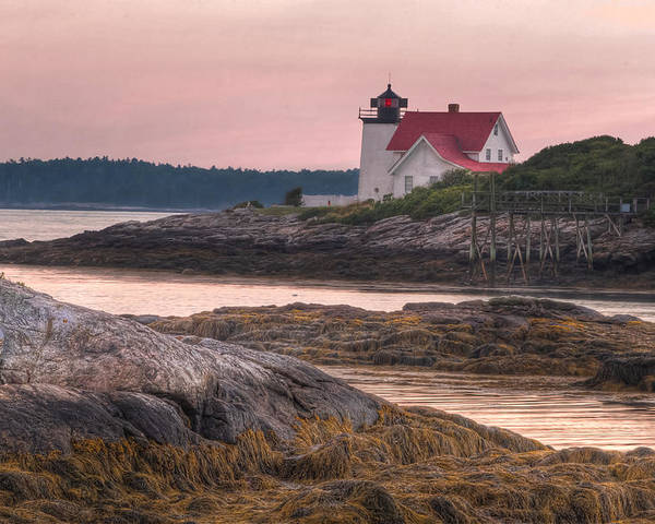 Hendricks Poster featuring the photograph Hendricks Head Light At Sunset by At Lands End Photography