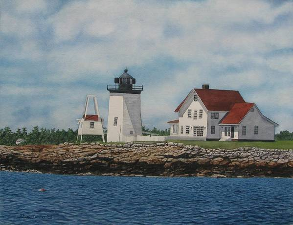 Lighthouse Poster featuring the painting Hendricks Head Lighthouse by Sharon Farber