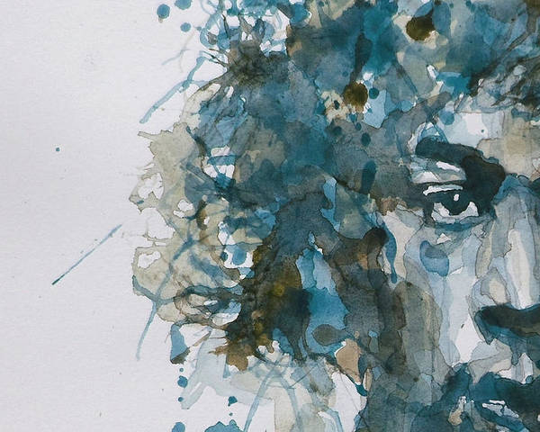 Jimi Hendrix Poster featuring the painting Hendrix Watercolor Abstract by Paul Lovering