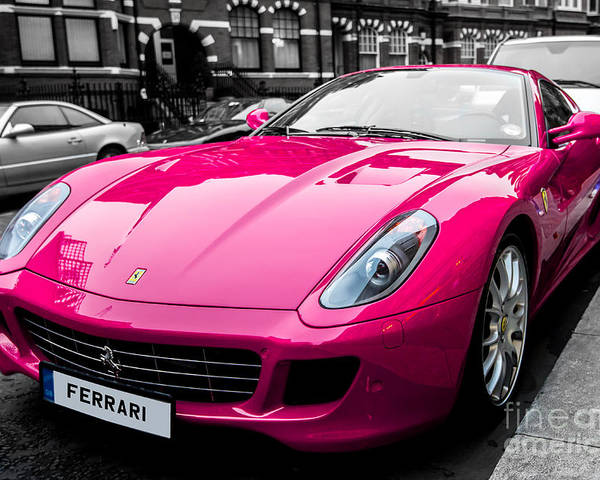 Pink Poster featuring the photograph Her Pink Ferrari by Matt Malloy