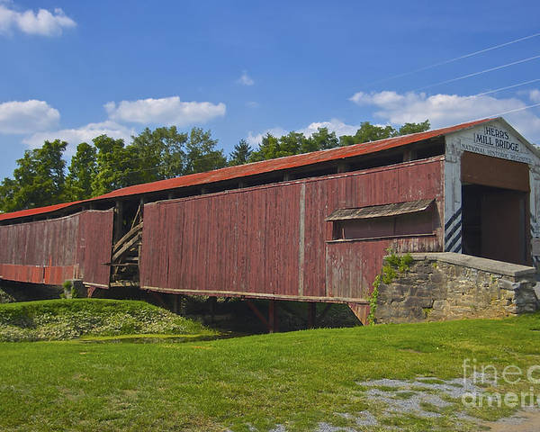 Lancaster County Poster featuring the photograph Herr Mill Covered Bridge by Lori Amway