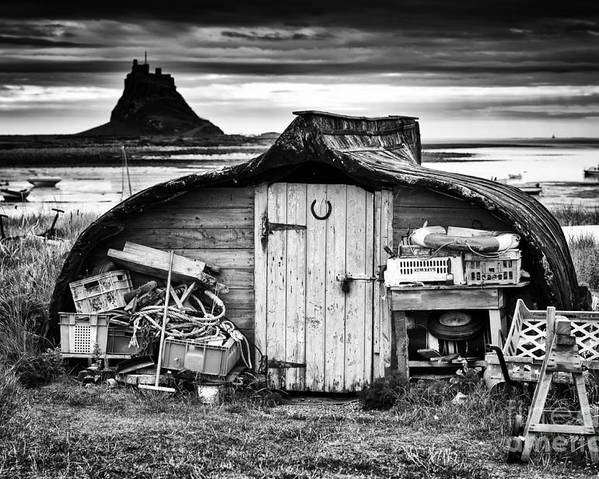 Up Turned Poster featuring the photograph Herring Boat Hut Lindisfarne Monochrome by Tim Gainey