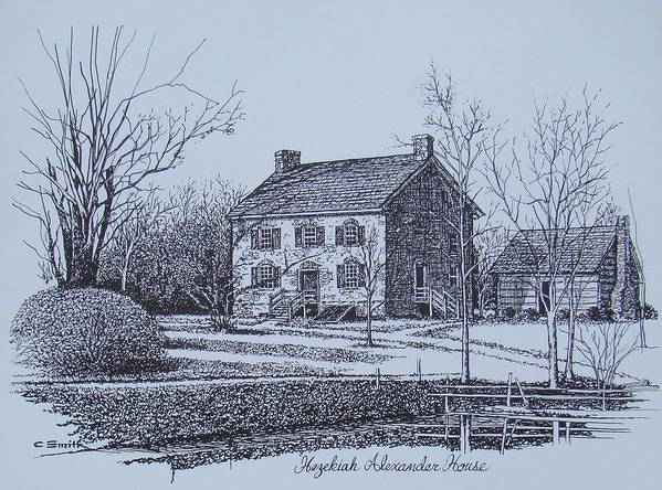 Hezekiah Alexander Poster featuring the drawing Hezekiah Alexander House Etching by Charles Roy Smith