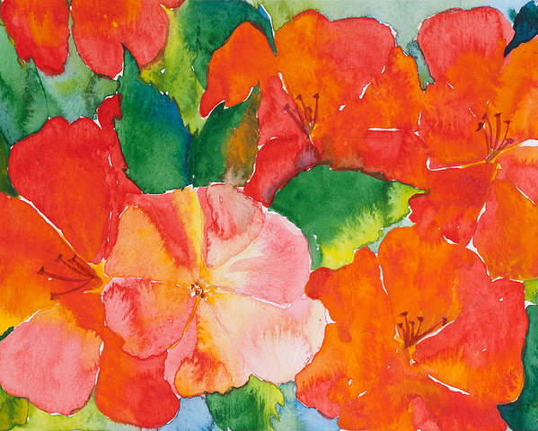 Flowers Poster featuring the painting Hibiscus Flowers by Michelle Wiarda