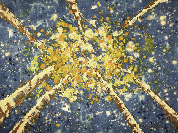Aspen Trees Poster featuring the painting High - Aspens by Gina De Gorna