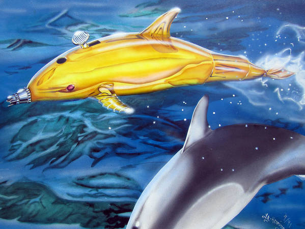 Technical Poster featuring the painting High Tech Dolphins by Thomas J Herring