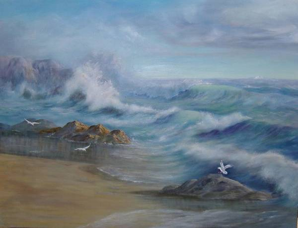 Seascape Poster featuring the painting High Tide by Rita Palm