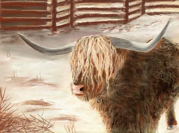 Countryside Poster featuring the painting Highland Bull by Anastasiya Malakhova