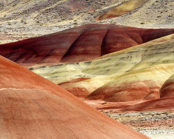 Painted Hills Poster featuring the photograph Hills Of Red by Mike Dawson