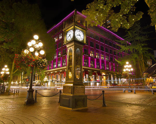 Historic Poster featuring the photograph Historic Steam Clock In Gastown Vancouver Bc by Jit Lim