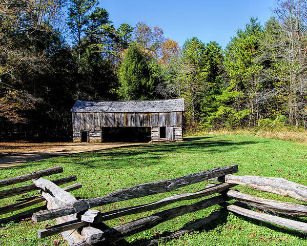 Historical Poster featuring the photograph Historical Cantilever Barn At Cades Cove Tennessee by Kathy Clark