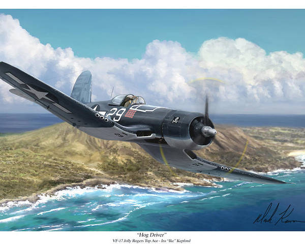 Ike Kepford Poster featuring the painting Hog Driver Vf 17 Jolly Rogers Top Ace Ike Kepford by Mark Karvon