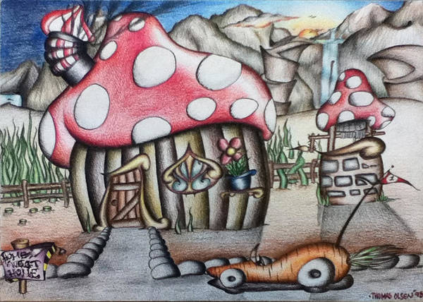 Mushroom House Poster featuring the drawing Home Sweet Home by Thomas Olsen