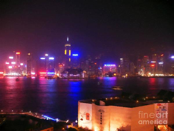Hong Kong Poster featuring the digital art Hong Kong Skyline by Pixel Chimp