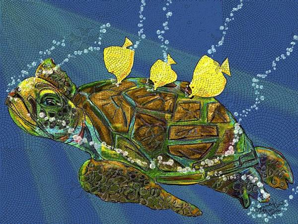 Turtle Poster featuring the digital art Honu by Donna Martin
