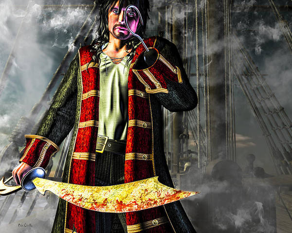 Pirate Poster featuring the digital art Hook Pirate Extraordinaire by Bob Orsillo