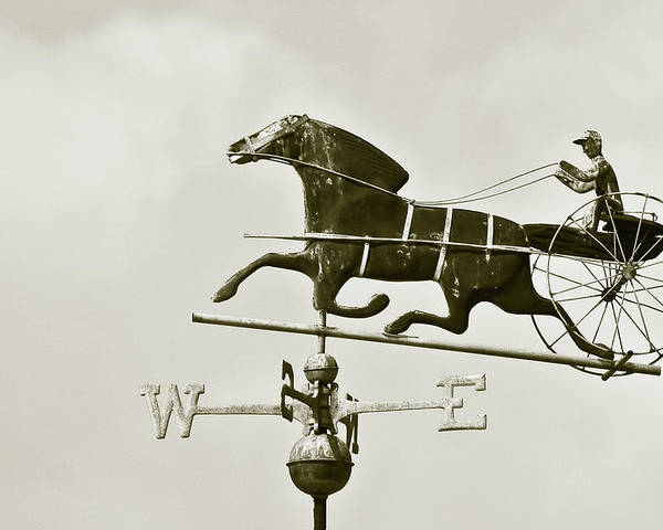 Horse Poster featuring the photograph Horse And Buggy Weathervane In Sepia by Ben and Raisa Gertsberg