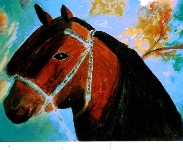 Horse Poster featuring the painting Horse With Long Forelocks by Anne-Elizabeth Whiteway