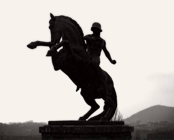 Black Poster featuring the digital art Horseman by Vitaly Kozlovtsev