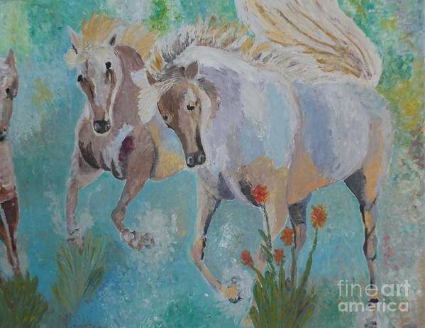 Horse Poster featuring the painting Horses From Camargue 2 by Vicky Tarcau