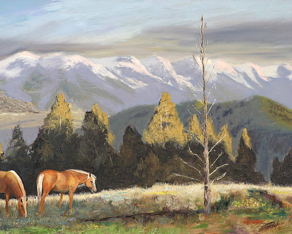 Landscape Poster featuring the painting Horses Of The Tetons by Tommy Thompson