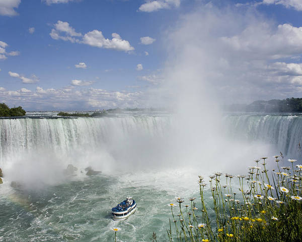 Attraction Poster featuring the photograph Horseshoe Falls With Maid Of The Mist by Peter Mintz