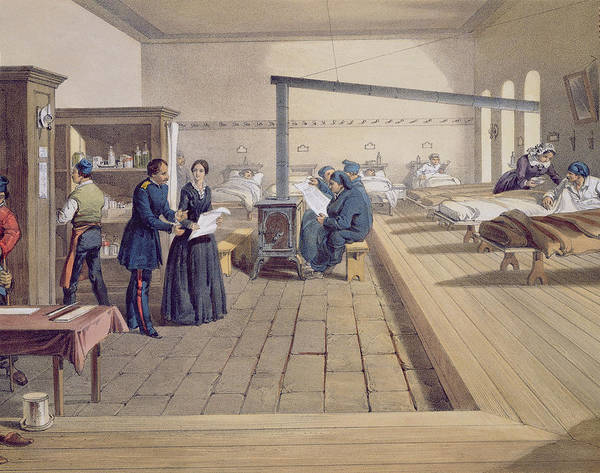 Nurse Poster featuring the drawing Hospital At Scutari, Detail Of Florence by William 'Crimea' Simpson