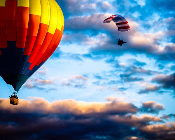 Hot Air Balloon Poster featuring the photograph Hot Air Balloon And Powered Parachute by Bob Orsillo
