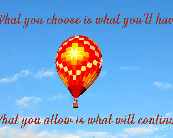 Hot Air Balloon With Quote Poster By Kathy White
