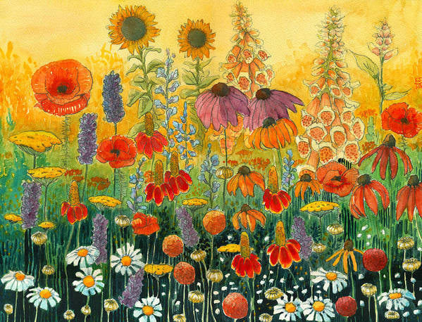 Mexican Hat Flower Poster featuring the painting Hot And Hazy by Katherine Miller