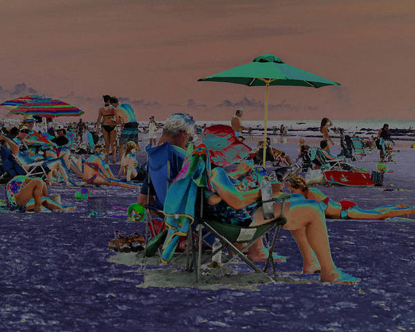 Solarized Poster featuring the photograph Hot Day At The Beach - Solarized by Suzanne Gaff