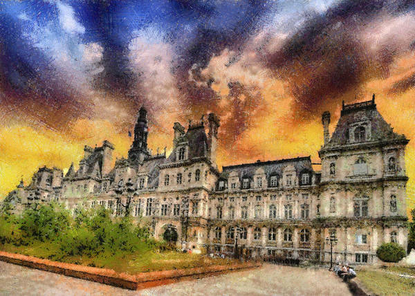 Paris Poster featuring the photograph Sunset At The Hotel De Ville by Charmaine Zoe