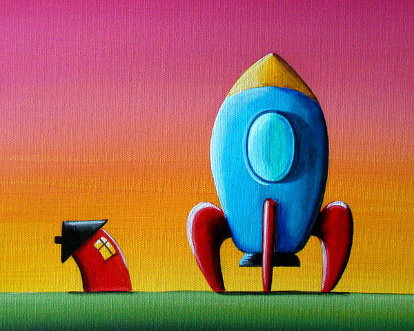 Home Poster featuring the painting House Builds A Rocketship by Cindy Thornton