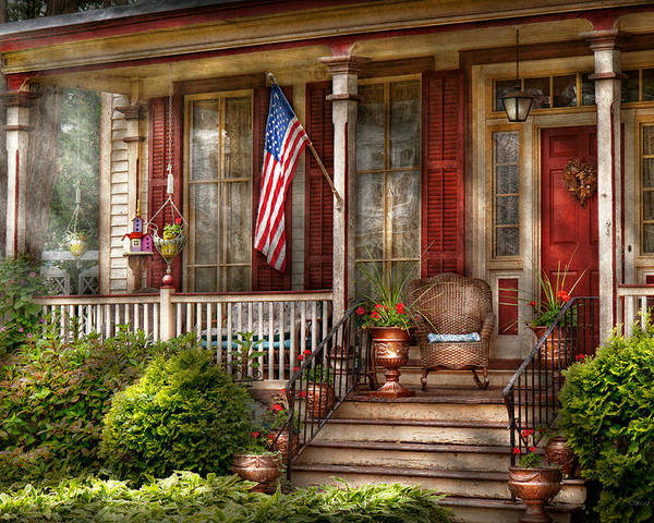 Victorian Poster featuring the photograph House - Porch - Belvidere Nj - A Classic American Home by Mike Savad
