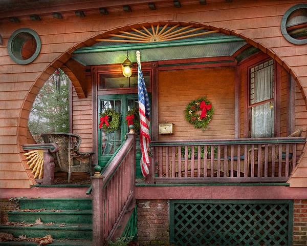 Victorian Poster featuring the photograph House - Porch - Metuchen Nj - That Yule Tide Spirit by Mike Savad
