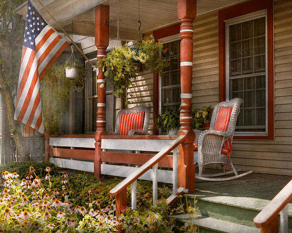 Porch Poster featuring the photograph House - Porch - Traditional American by Mike Savad