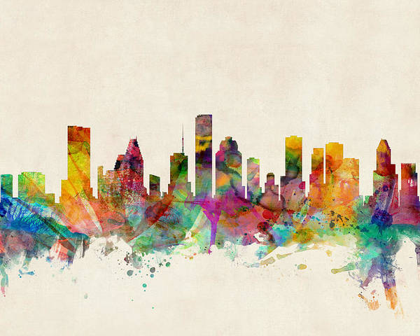 Watercolour Poster featuring the digital art Houston Texas Skyline by Michael Tompsett