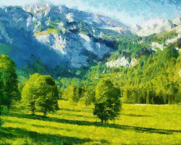 Valley Poster featuring the painting How Green Was My Valley by Ayse and Deniz