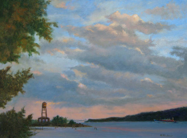 Hudson River Poster featuring the painting Hudson River Skyscape by Phyllis Tarlow