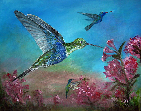 Hummingbirds Poster featuring the painting Hummers For A Friend by Karen Copley