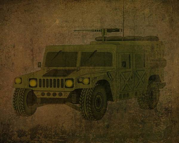 Hummer Poster featuring the drawing Humvee Midnight Desert by Movie Poster Prints