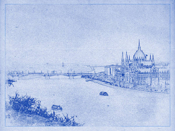 Hungarian parliament building in budapest blueprint poster by budapest poster featuring the photograph hungarian parliament building in budapest blueprint by kaleidoscopik photography malvernweather Image collections