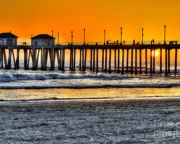 Sun Poster featuring the photograph Huntington Beach Sunset by Jim Carrell