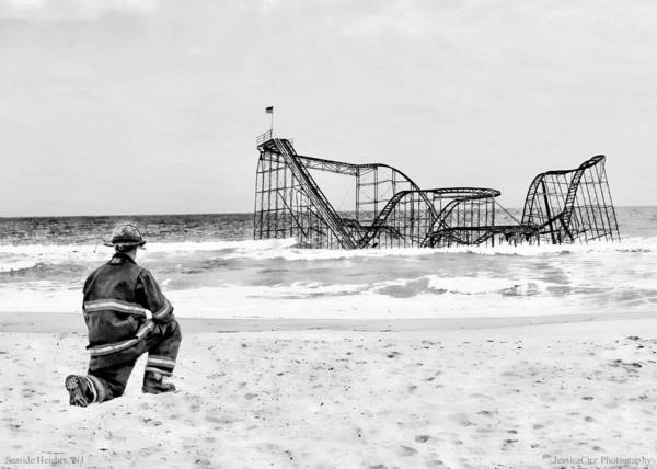 Seaside Heights Nj New Jersey Shore Hurricane Sandy Aftermath Beach Photo Photos Fireman Firefighter Firemen Dalmatian Dog Pet Fire Department Toms River Jetstar Roller Coaster Boardwalk Ocean Superstorm Photographs Poster featuring the photograph Hurricane Sandy Fireman Black And White by Jessica Cirz