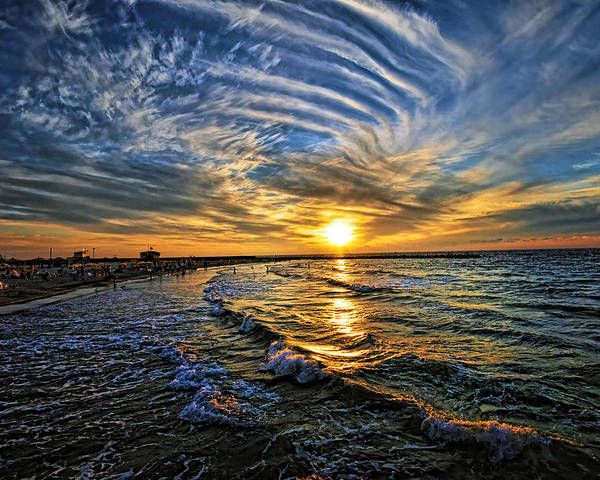 Hypnotic Poster featuring the photograph Hypnotic Sunset At Israel by Ron Shoshani