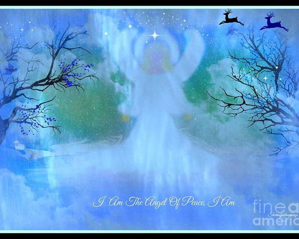 Angel Poster featuring the digital art I Am The Angel Of Peace I Am by Sherri's Of Palm Springs
