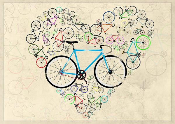 Bike Poster featuring the digital art I Love My Bike by Andy Scullion