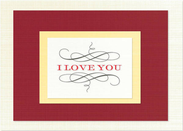 Valentine Card Poster featuring the digital art I Love You by Arce Lorena